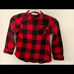 Red/Black Checkered Button Up Flannel-Boys